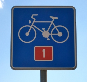 D1 Bike Route Sign Slovenia; bike touring; two wheel travel