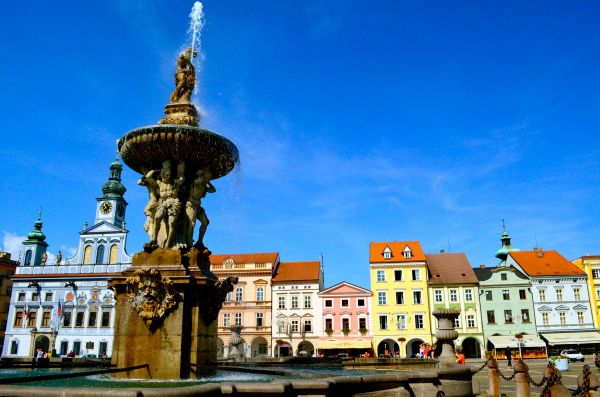 Town Square- České Budějovice; czech republic; cycling; bike touring; two wheel travel