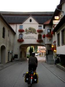 bicycle tourist in Losenstein Austria; Bicycle travel on the Ennsradweg