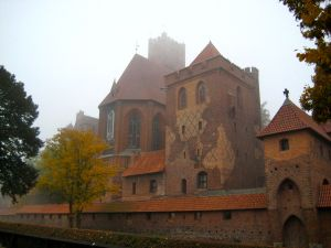 We biked to Malbork Castle in the fog