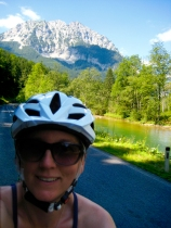 bicycle touring panda; self portrait; bike travel in austria on the salzatalradweg
