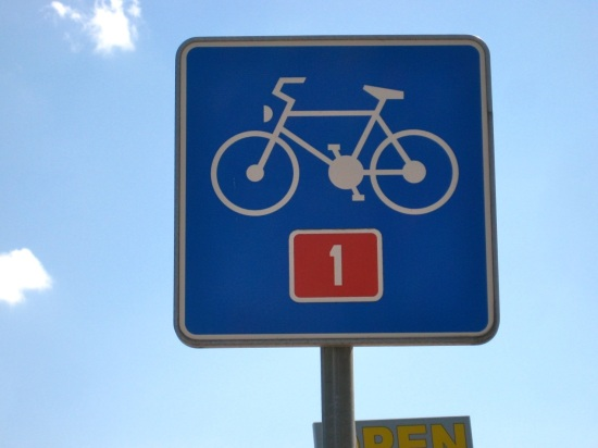 Bicycle Route sign Slovenia; bike touring; two wheel travel