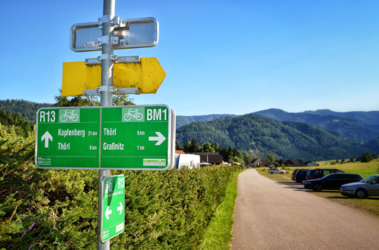 Bicycle route sign along R13 bicycle route Austria