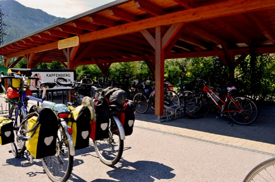Encourage bicycle travel. Bike parking at a local restaurant. Austria R13 bike Route. Two Wheel Travel