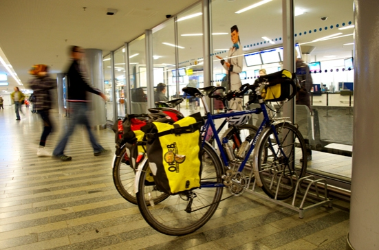 bicycle parking at pragur trains station makes it easy to use the train to extend bicycle travel